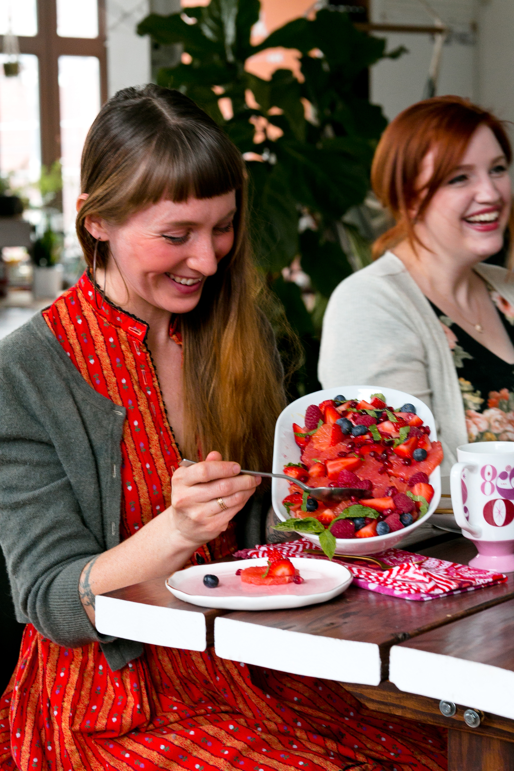 Grapefruit and Berry Salad from Galentine's Day Brunch. UnusuallyLovely.com