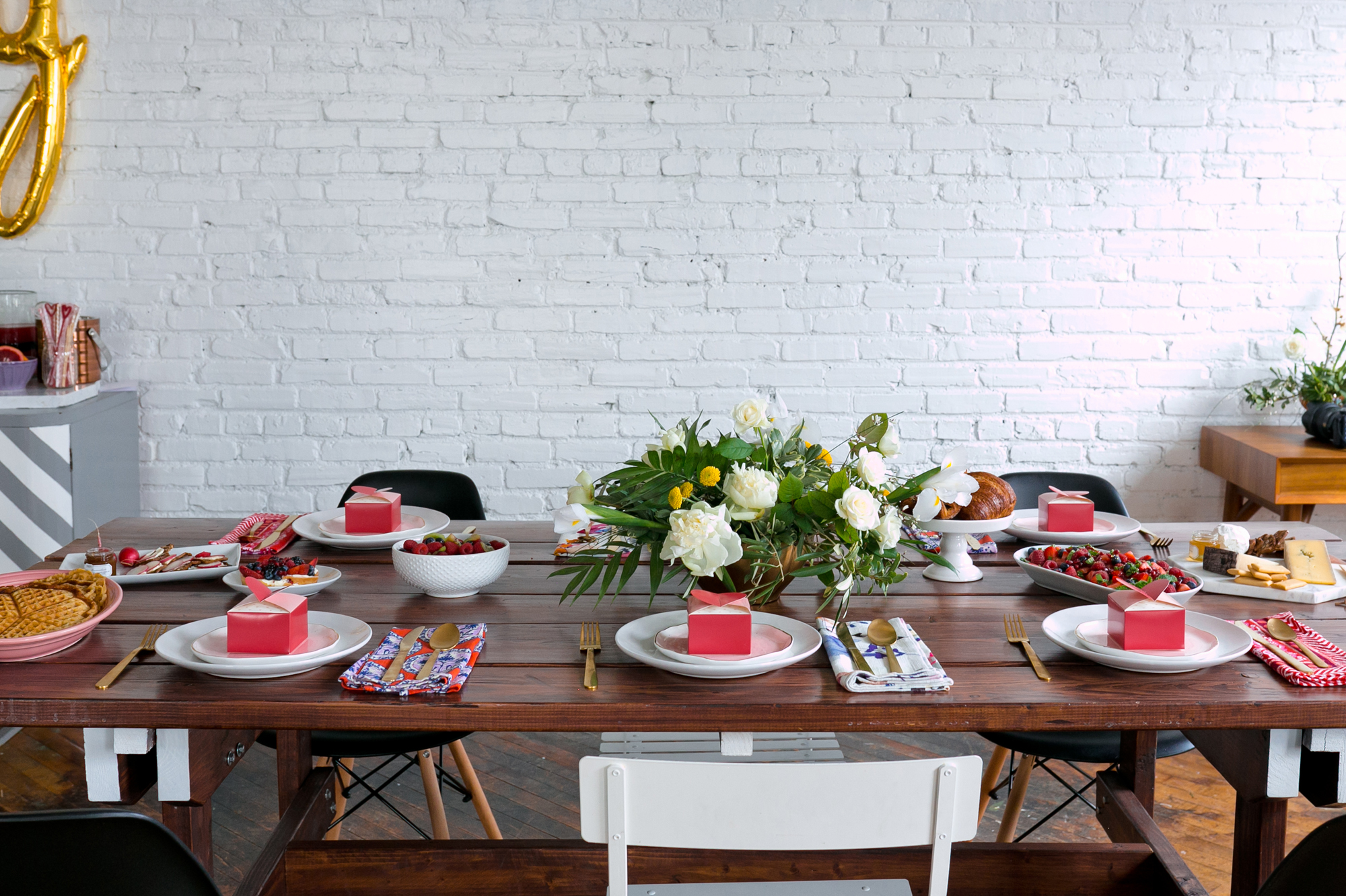 Galentine's Day Brunch Tablescape from Unusually Lovely