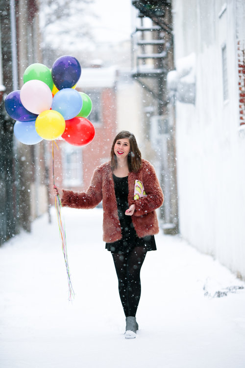 Balloons in the snow. Photo by Kate McCann.