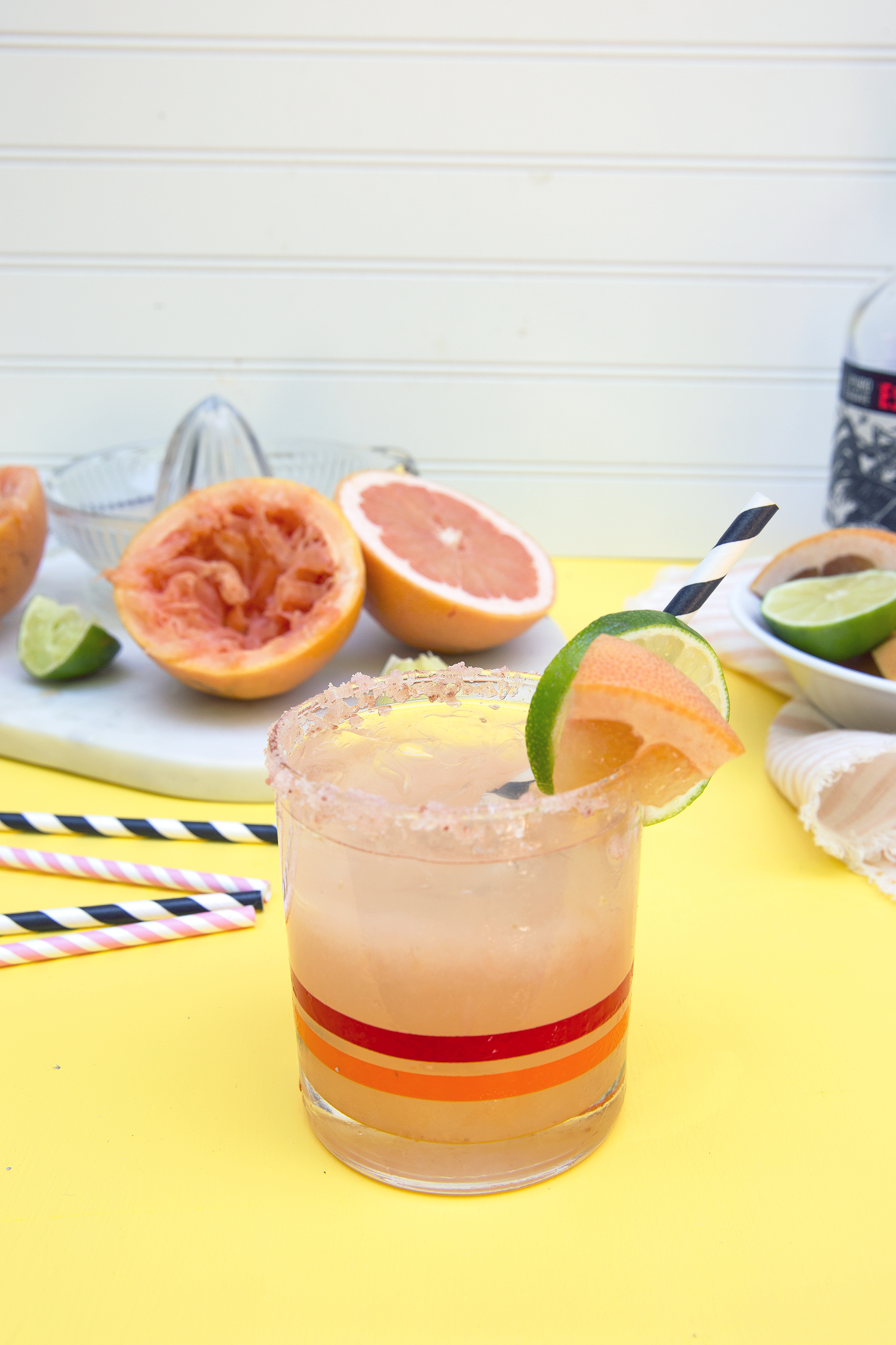 Paloma Cocktail made from grapefruit juice, tequila, and seltzer. UnusuallyLovely.com
