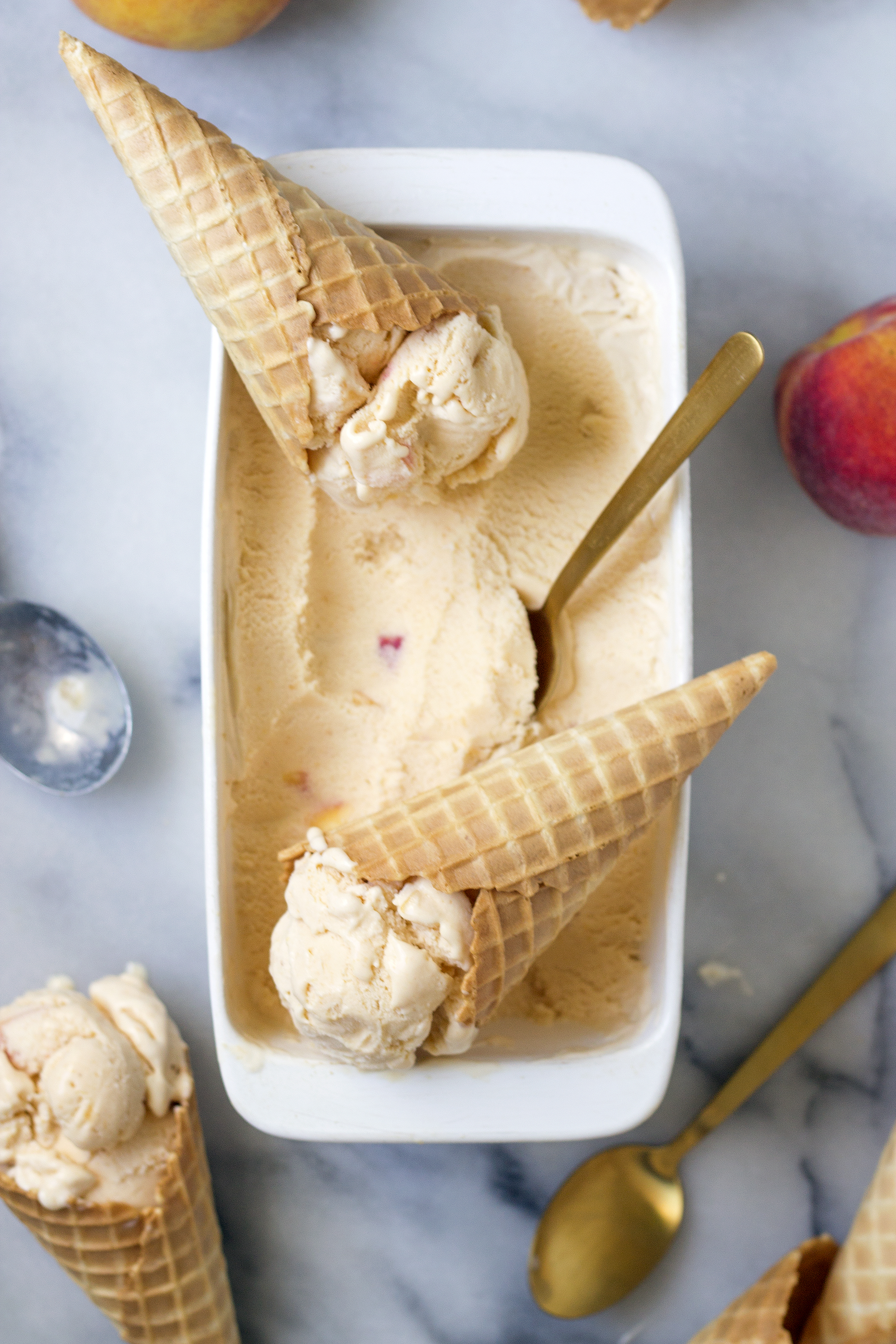Homemade Peach Ice Cream Recipe. UnusuallyLovely.com