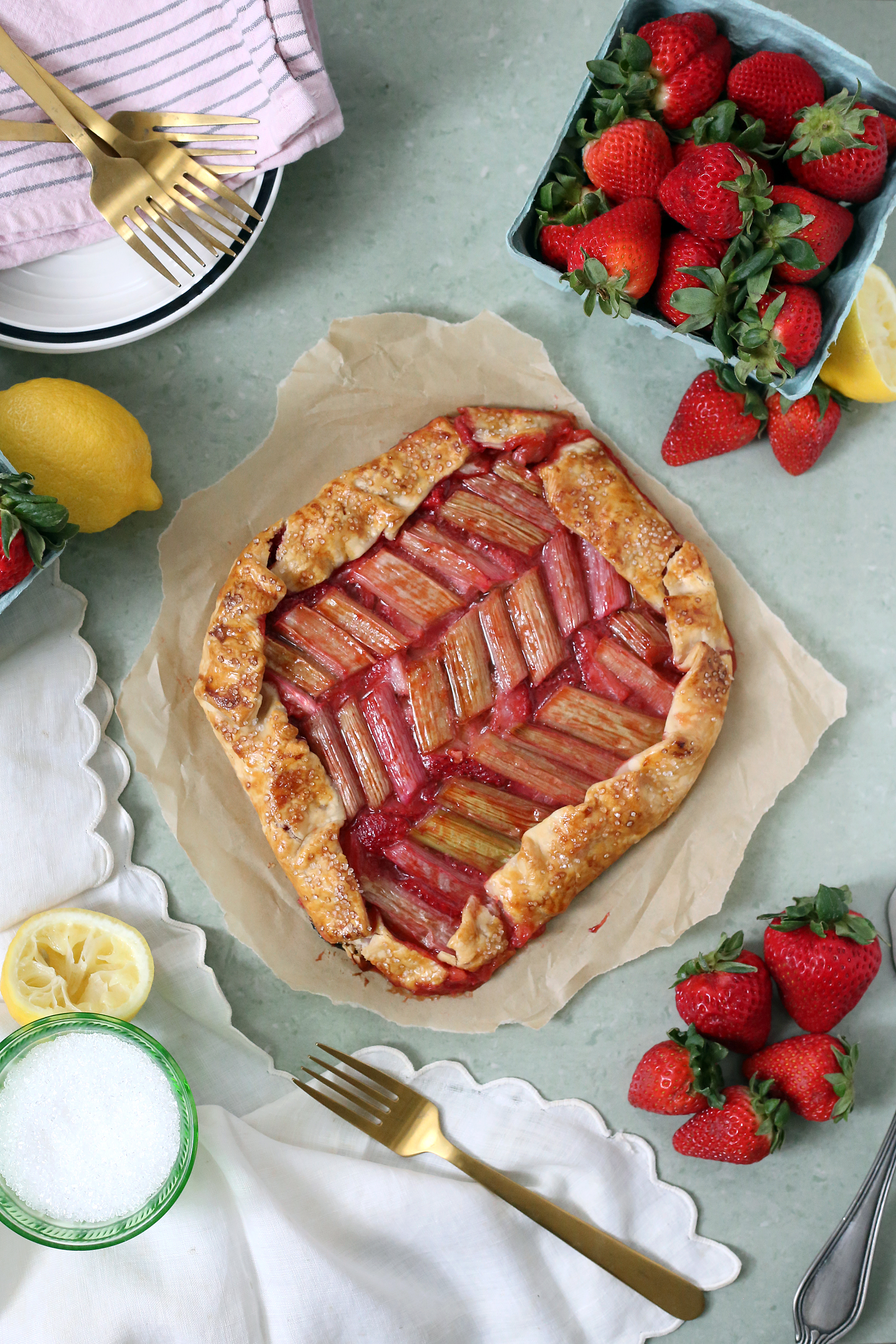 The perfect spring Strawberry Rhubarb Galette via Unusually Lovely