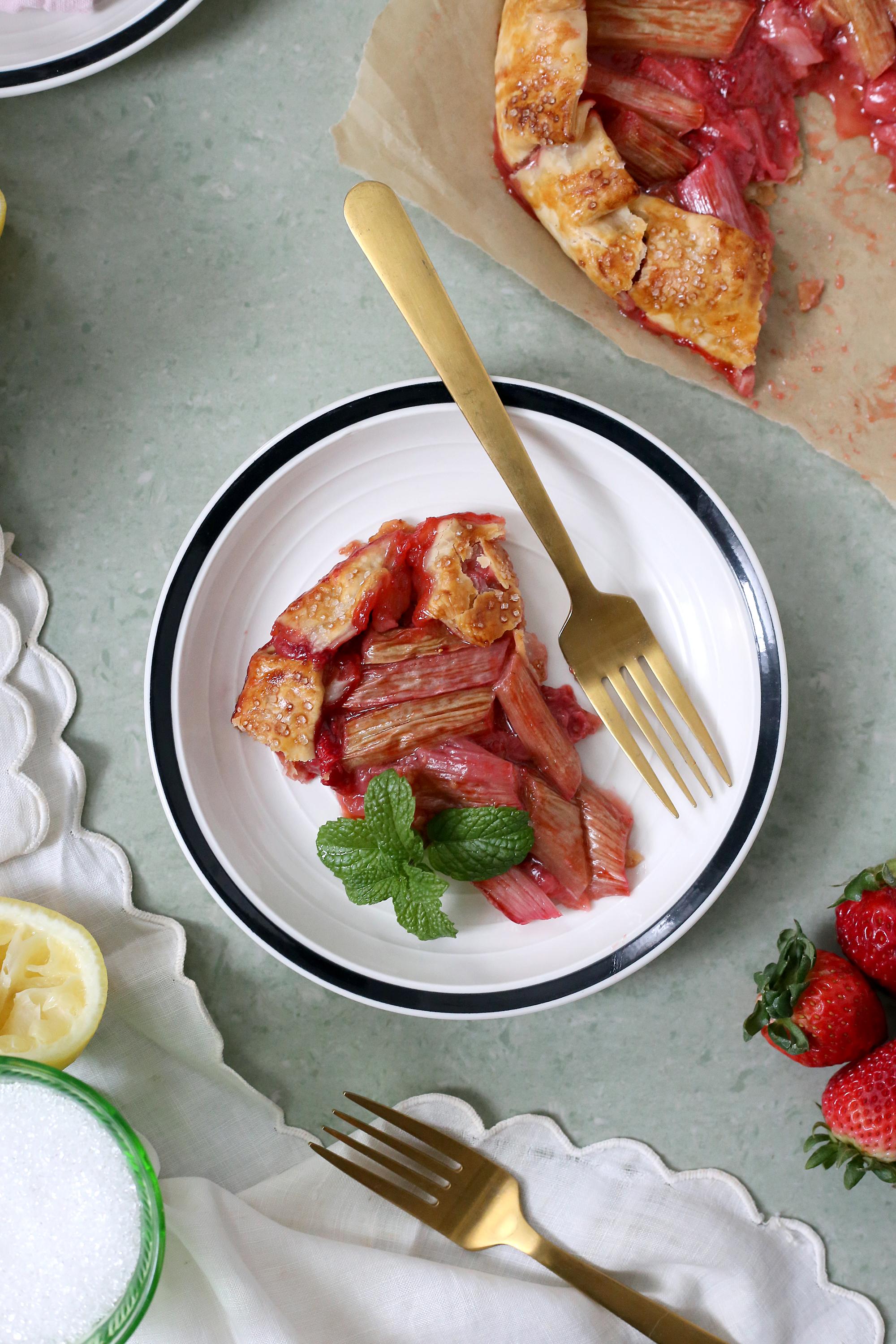A slice of spring. Get the recipe for this Strawberry Rhubarb Galette via UnusuallyLovely.com