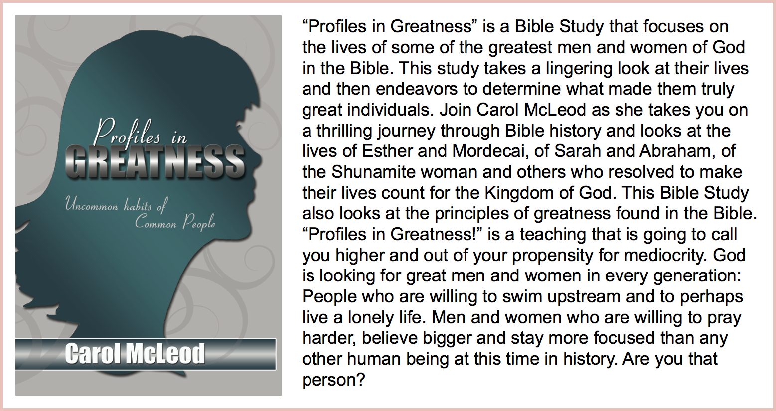 Profile in Greatness  9 CD Teaching Set - $5   Profile in Greatness  Teaching download - $25