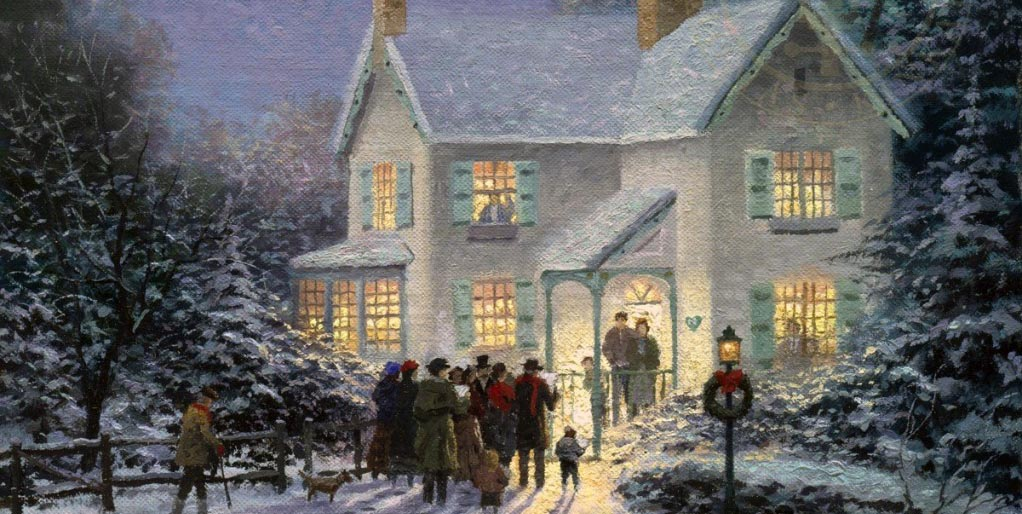 "Thomas Kinkade Painting - ""Evening Carolers"""