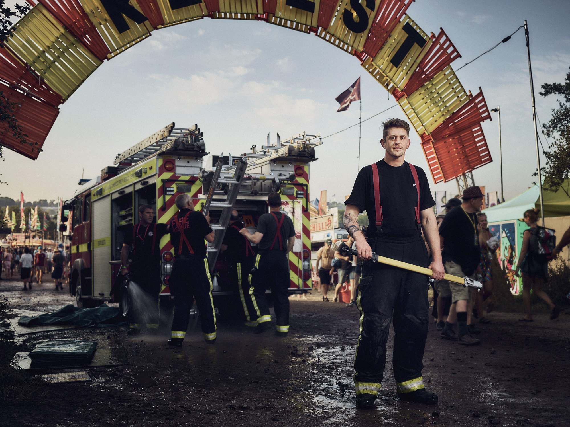 Matthew - Avon Fire and Rescue: Helping to cool down people on a very hot Wednesday