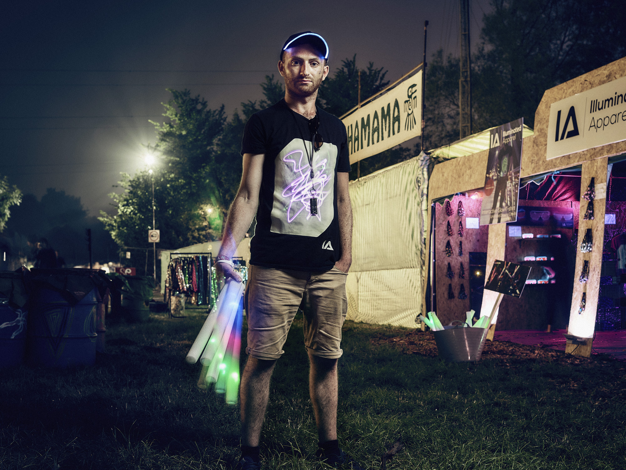 Rob - Illuminated Apparel: stall holder working late into every night.