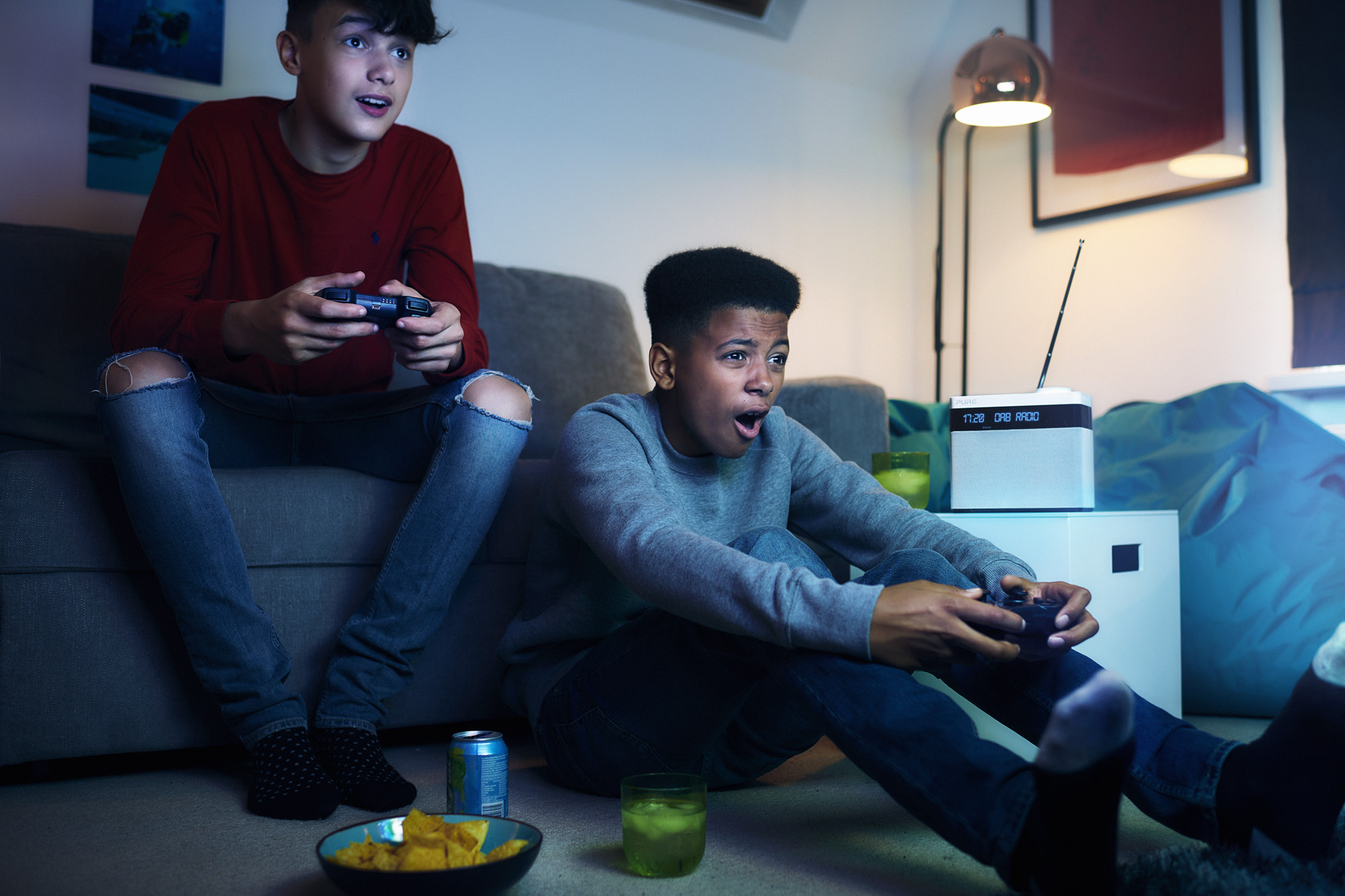 radiocentre boys playing on games console