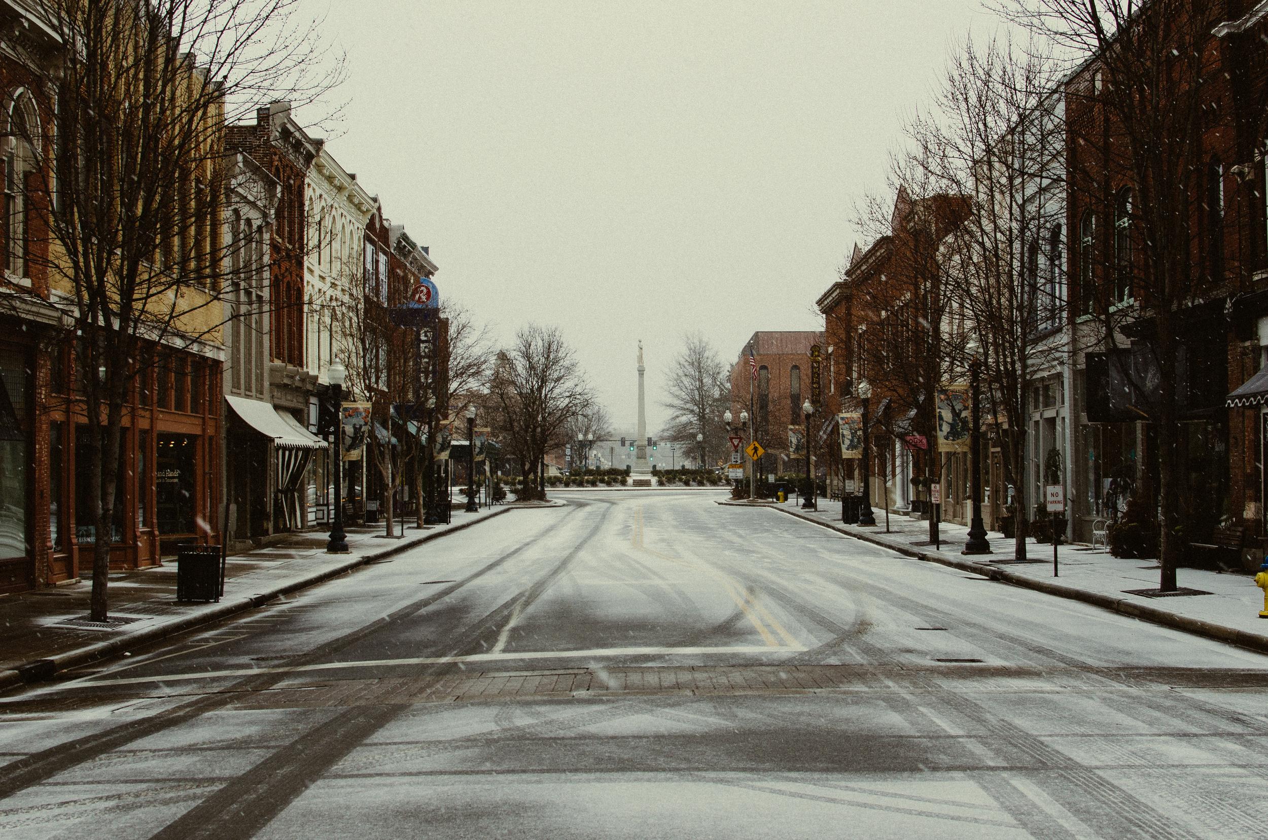Ice Storm Downtown Franklin, TN