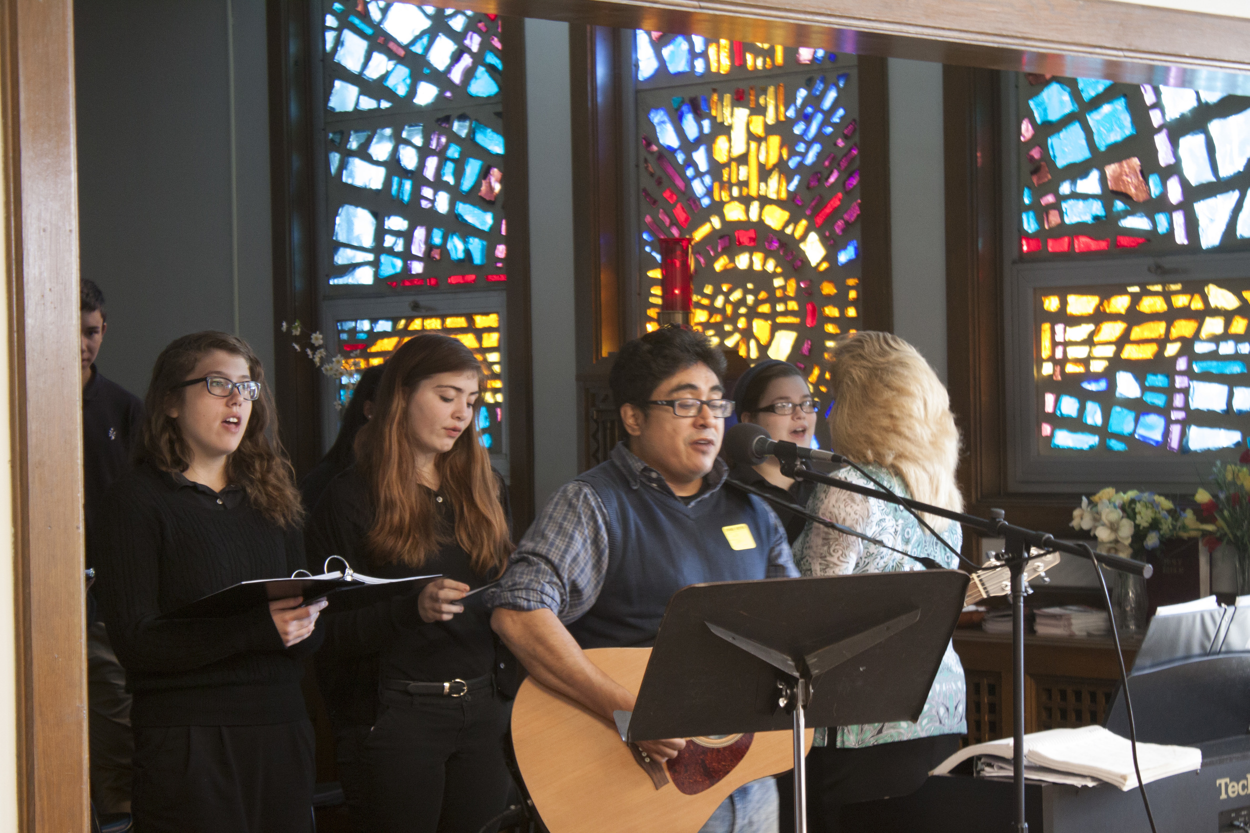 Students playing at a donor mass on October 15, 2015