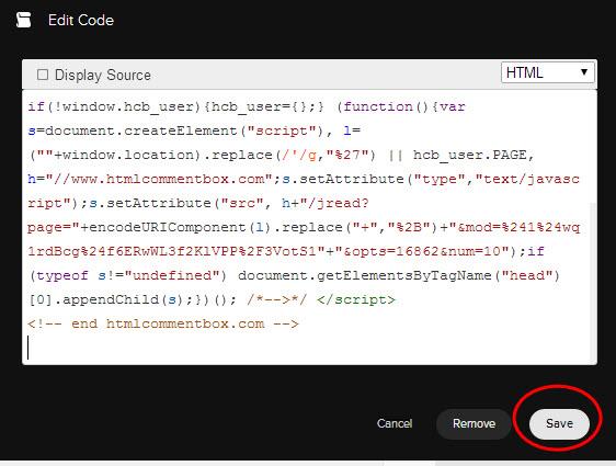 Code block in Sqaurespace