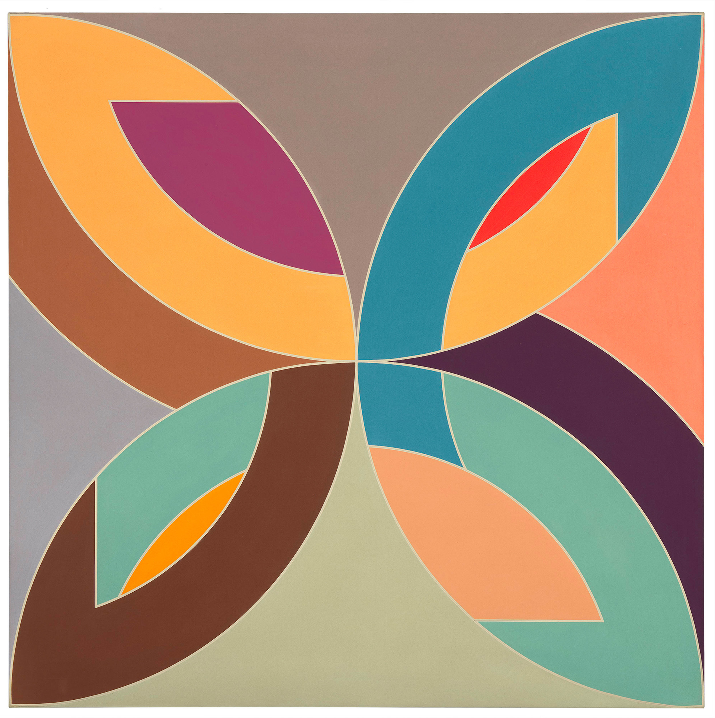 Frank Stella   Flin Flon 1970 synthetic polymer and fluorescent paint on canvas National Gallery of Australia Purchased through the NGA Foundation with the assistance of Terrey and Anne Arcus and Penelope and Harry Seidler 2002 © Frank Stella/ARS, New York/Copyright Agency