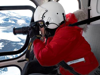Diane Tuft shooting in Antarctica
