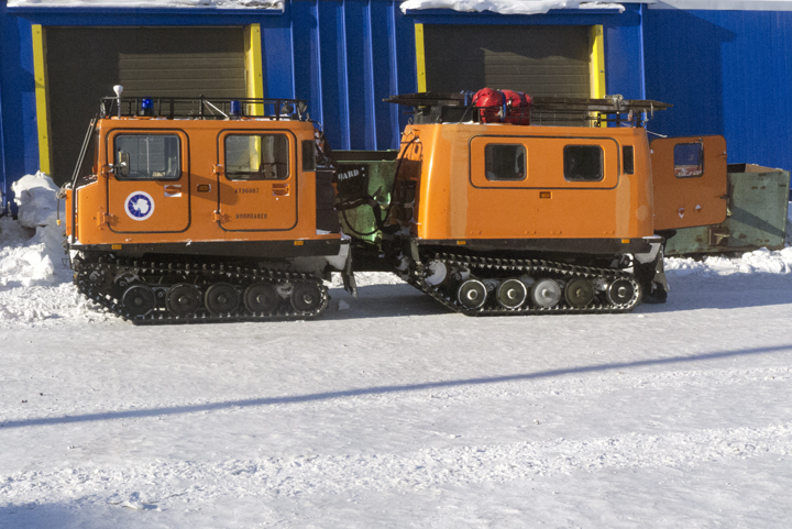 The Hagglund taking us out to the sea ice.