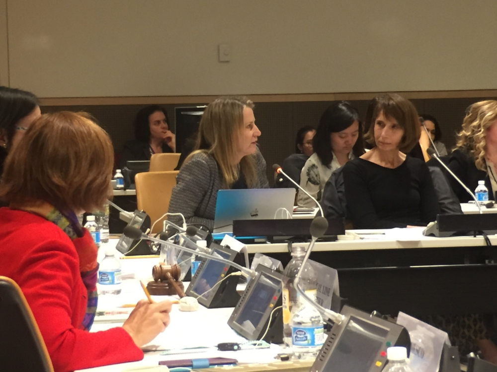 WINGS WorldQuest Managing Director Yael Jekogian, center, speaks during a Women in Innovation and Connectivity conference at the United Nations in New York City. Photo by Bianca Fortis.