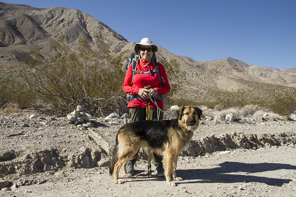 At 80, Helen Thayer trekked the 225-mile length of Death Valley with her dog, Sam. Photo courtesy Helen Thayer
