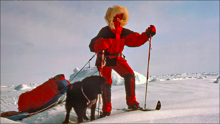 Helen Thayer on her first solo expedition to the North Pole with her dog Charlie. Photo courtesy Helen Thayer