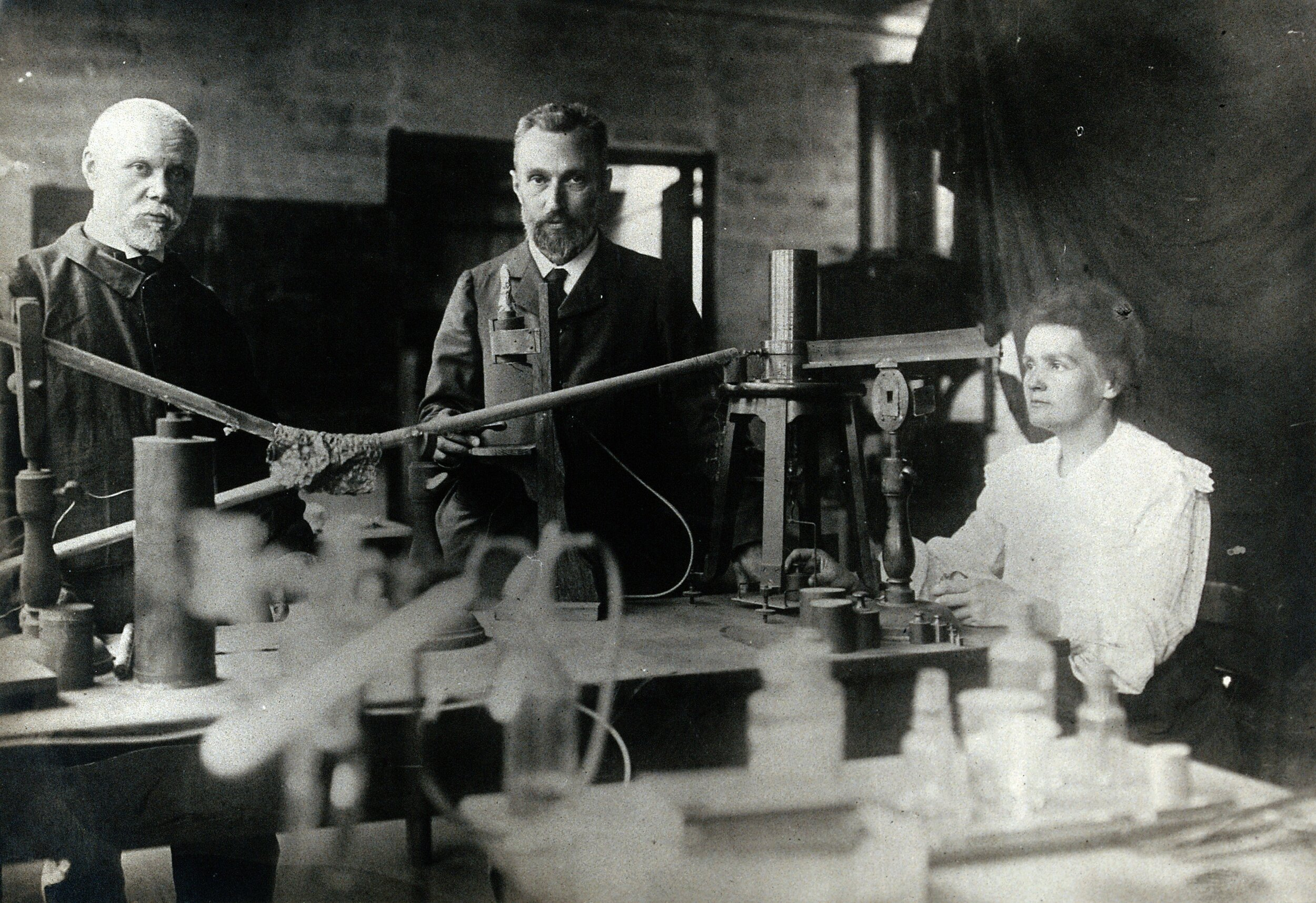 Marie Curie in the lab. Photo via WikiMedia