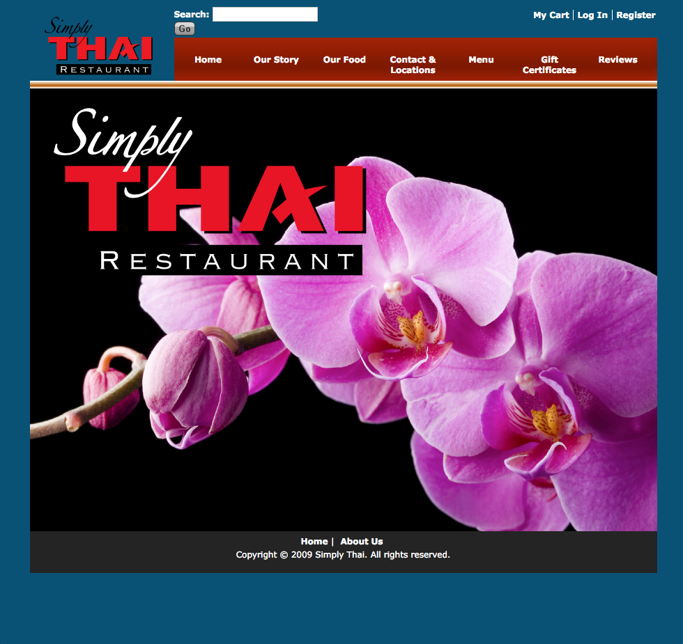 Simply Thai's legacy website was a fixed-width site that didn't speak to the restaurant's outstanding quality food.