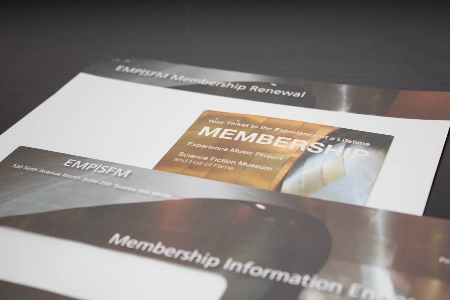 Updated membership materials for the newly merged Experience Music Project and Science Fiction Museum.