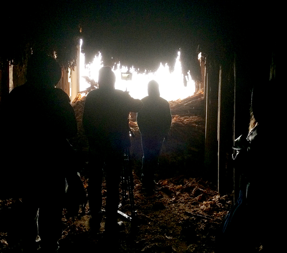 Crew inside a Tobacco Barn during our winter shoot
