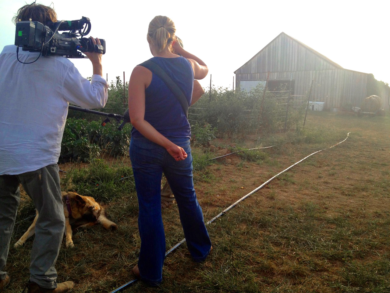 D.P. Lee Daniel and Laura Dunn interviewing Henry County farmers