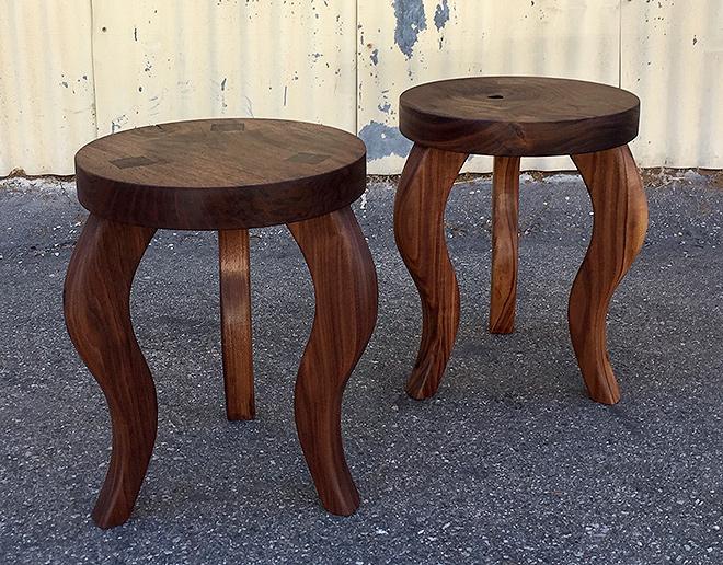 Stools with Wedged Tenon,Claro Walnut Seats, Eastern Black Walnut Legs