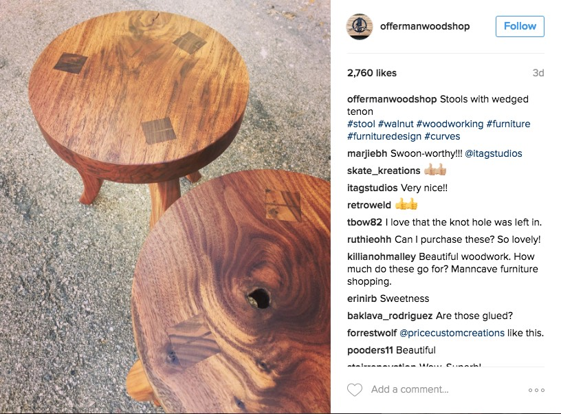 Official Offerman Woodshop Instagram