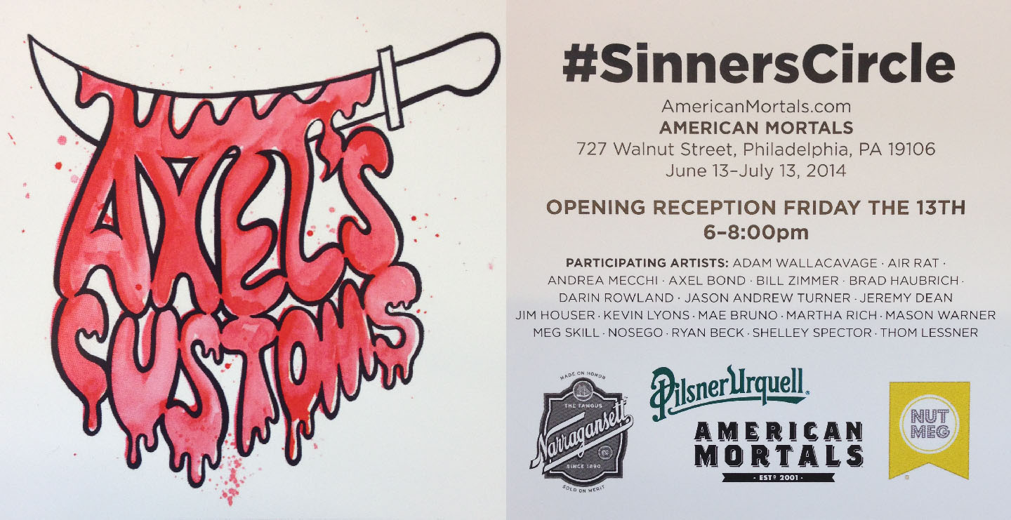 """sinners circle""  at American Mortals  727 Walnut street, philadelphia PA  june 13th - july 13th.  opening reception friday the 13th 6-8 pm  A group show i'm happy to be apart of, really amazing group of artists"