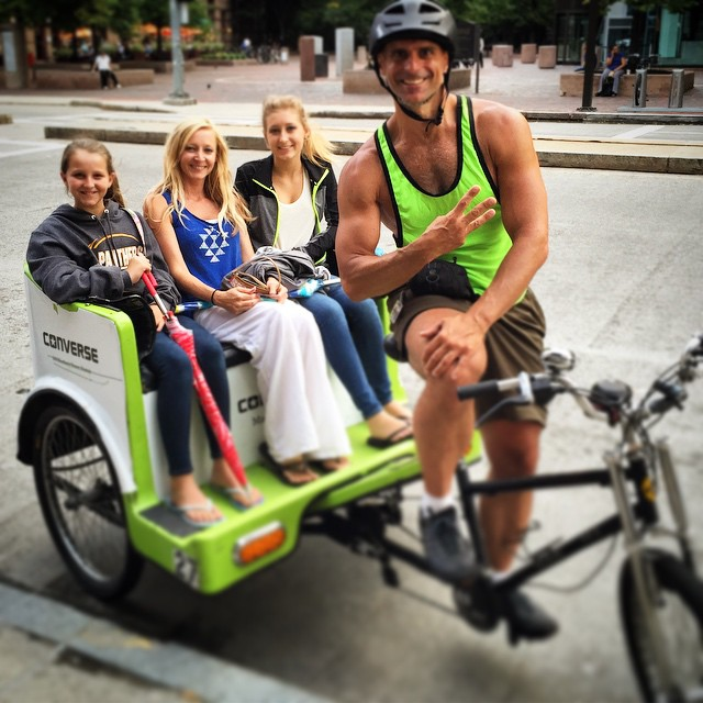 Lovely ladies from #Tennessee wanted to see the whole city in three hours. #BostonPedicab's @christian_aka_xn nailed it! Best tours in #Boston!  #BackBay #SouthEnd#150RidesOfSummer #PedicabNation #OnlyOnPedicab #OnlyOnPedicab