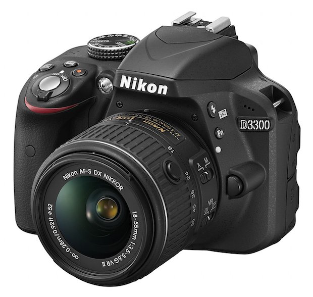 D3300 pictured with its kit lens, the newer 18-55mm, available together for $650