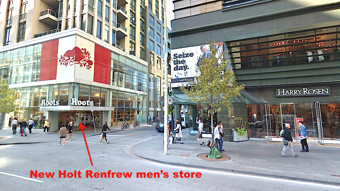 Competitors Harry Rosen and Holt Renfrew will be close neighbours. Photo: Google Streetview