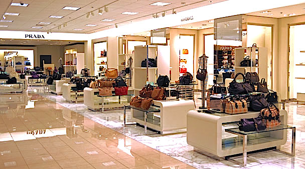Prada concession in women's designer handbags at Nordstrom, Broadway Plaza, Walnut Creek, California [ Image Source ]