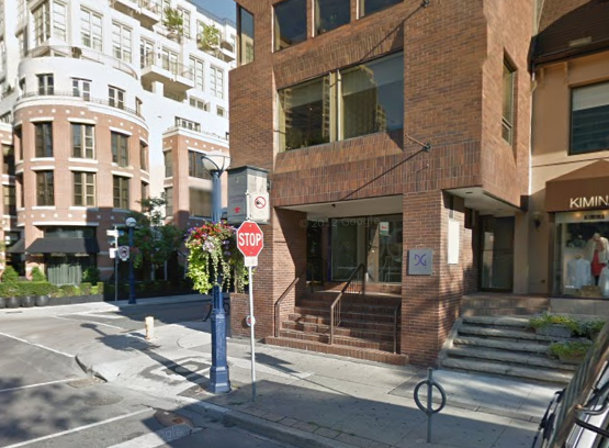 Google Streetview screenshot, showing the exterior of Kiton's new Toronto store location at 114 Yorkville Avenue.