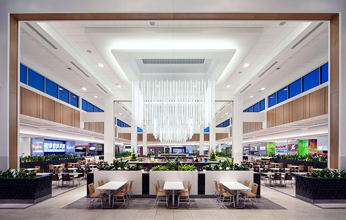 Stunning food court renovation at Les Galeries d'Anjou. Photo:  Savoia Canada Inc .