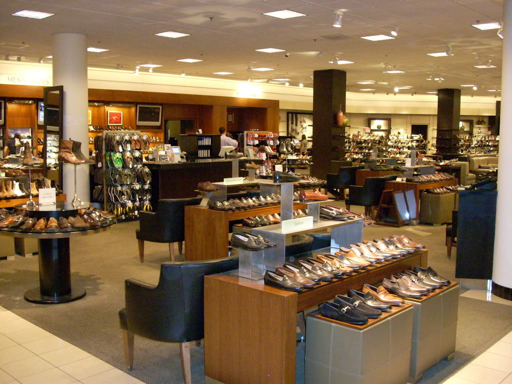 Nordstrom store interiors are traditionally beige/brown, lacking natural light. Photo: Style Forum (click to enlarge)