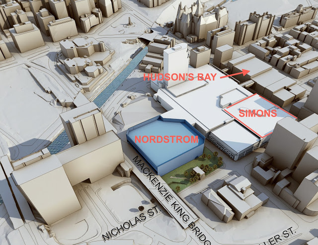Nordstrom's 157,000 sq ft Ridea Centre store will occupy levels 2 and 3 of the mall's former Sears store. Image adapted from Nordstrom rendering.