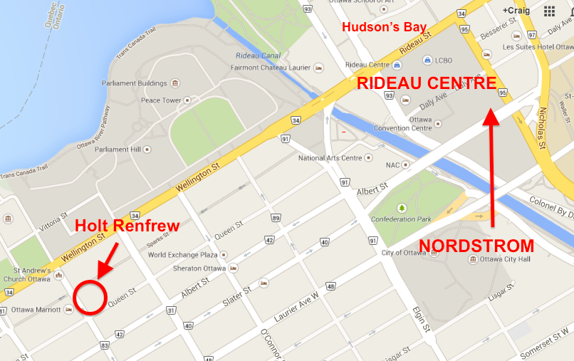 Holt Renfrew's small Ottawa store is a distance away from busy Rideau Centre.