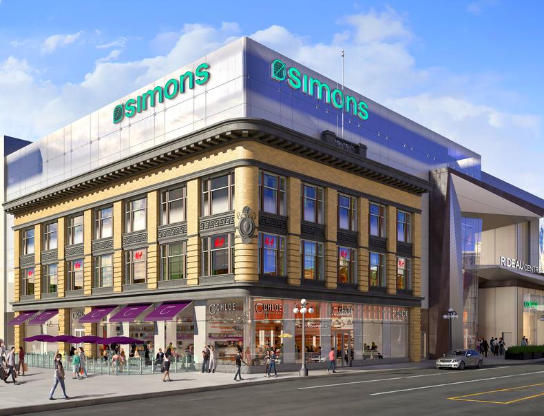 La Maison Simons joins Rideau Centre in August of 2016. Rendering: Rideau Centre