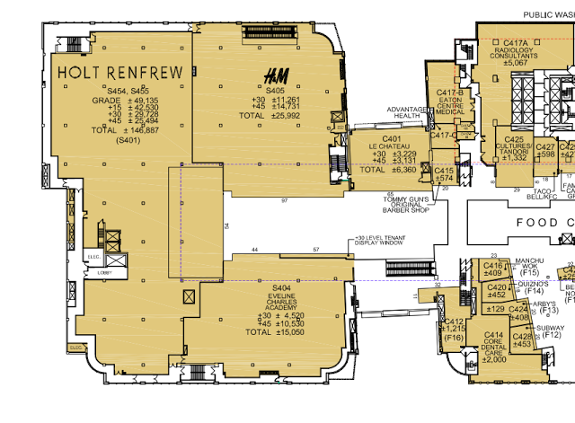 Holt Renfrew's shuttered 4th floor will become accessible to shoppers as part of the Calgary store's expansion.  Click this image for the entire PDF  via 20 Vic Management.