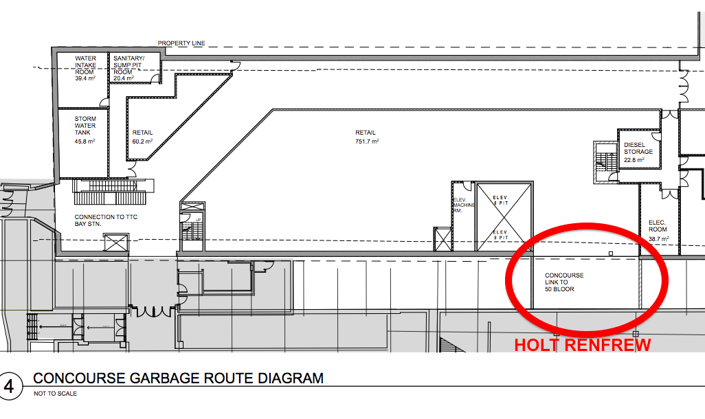 Plans indicate a lower-level link between the new 37,000 square foot retail space and the existing Holt Renfrew flagship. Plan: architectsAlliance.