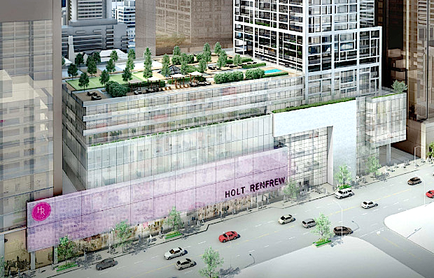 Plans are also in place for a new facade on Holt Renfrew's renovated and expanded 50 Bloor St. W. flagship. Rendering: Morguard/City of Toronto.