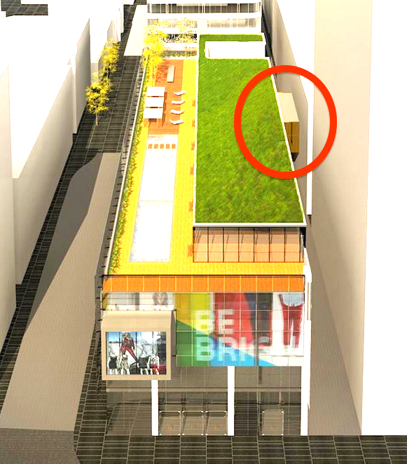 Rendering showing the Bay Street frontage of the new Cumberland Terrace. A connection between the retail component and Holt Renfrew at 50 Bloor Street West is circled in red. Rendering: architectsAlliance