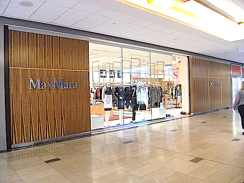 Photo of Pacific Centre's Max Mara in the spring of 2014. The store's exterior and interior have been completely overhauled. Photo:Built Form, Vancouver Skyscraper Forum