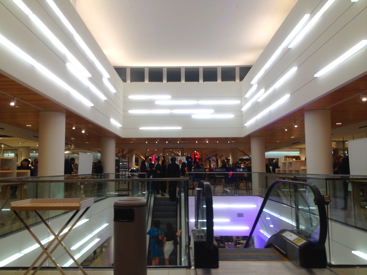 The store's escalator well featured modern lighting and, in the daytime, natural light (this photo was taken at 9:30pm)