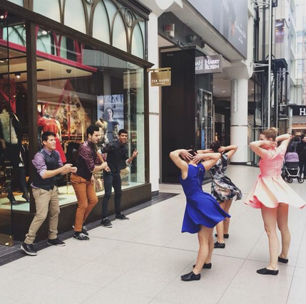Dancers perform outside of the new store on Nov. 1. Photo: Ted Baker.