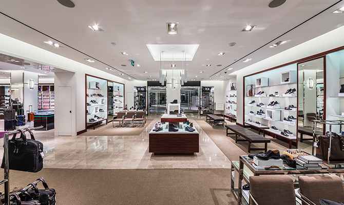 Harry Rosen's new footwear shop at its Ottawa Rideau Centre location.