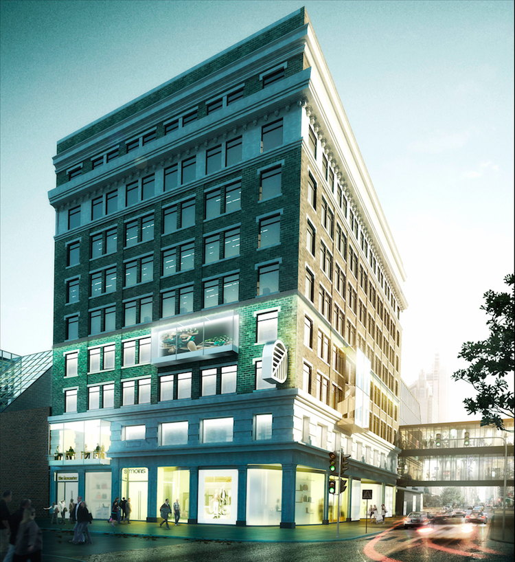 The new downtown Calgary store will occupy the base of the city's first skyscraper. Rendering:McKinley Burkart.