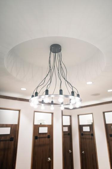 Impressive light fixture in the dressing room area. Photo: Nicholas Yee.