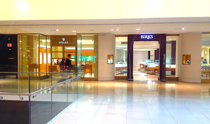 Birks at Calgary's CORE features a Rolex shop-in-store with its own mall entrance. Photo: Craig Patterson.